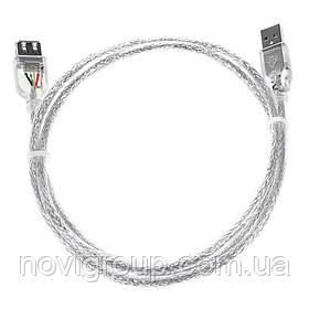 Удлинитель USB 2.0 AM/AF, 10.0m, 1 феррит, прозорий синий Q80