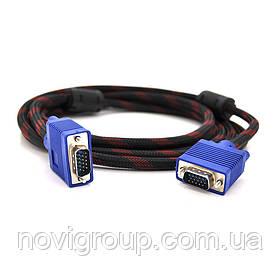 Кабель Merlion VGA 3 + 4, 10m, male to male (тато-тато), OD-8.2mm, 2 фериту, обплетення, круглий Black / Red,