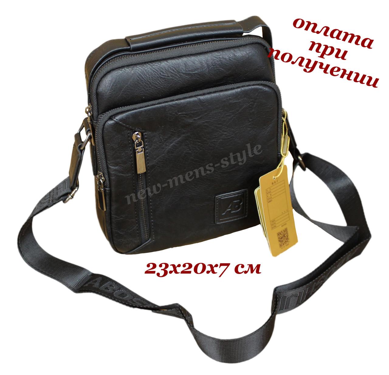 Мужская чоловіча кожаная сумка барсетка через плечо с ручкой ABOSH (2)