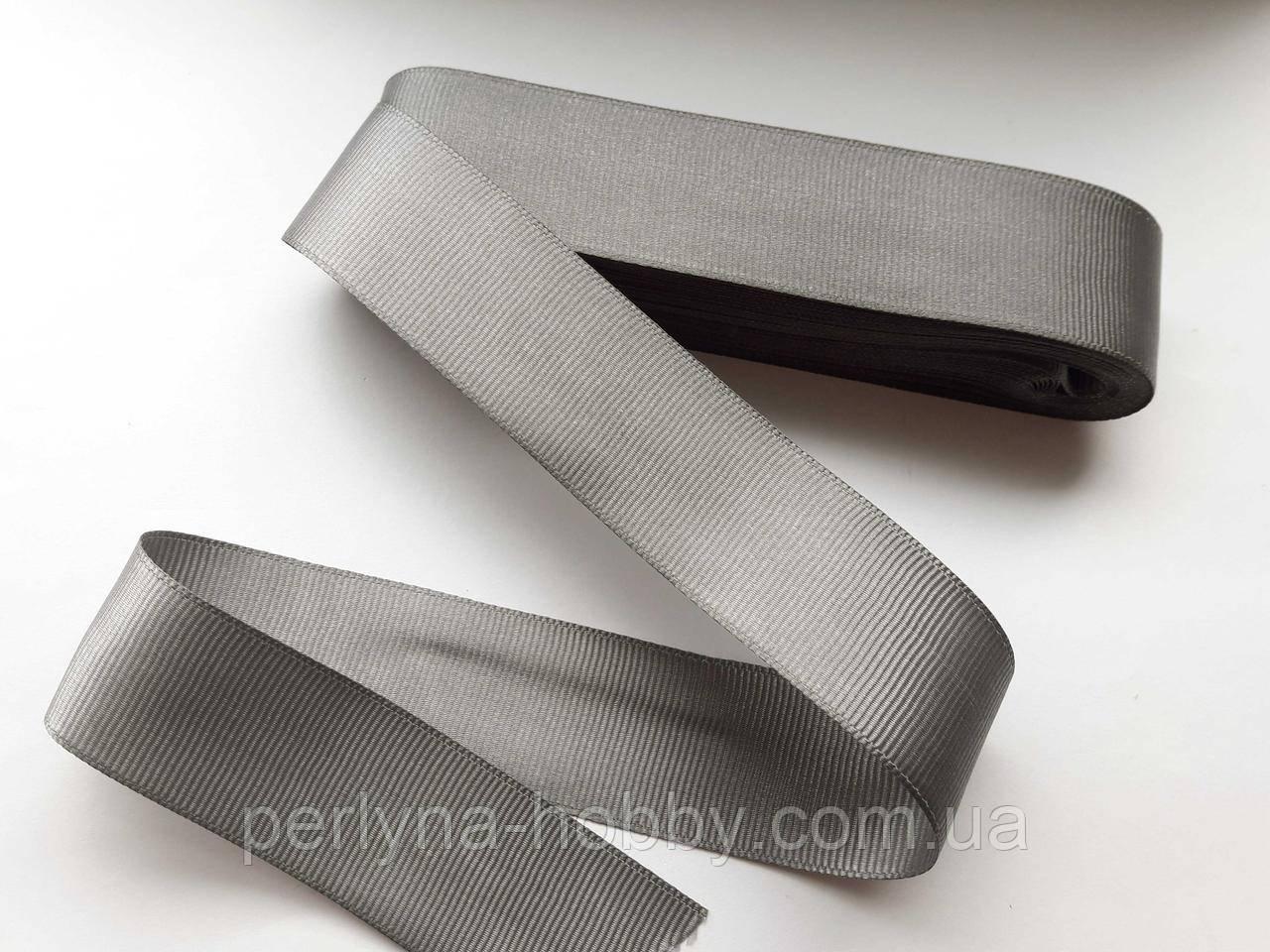Тесьма лента репсовая широкая Стрічка репсова  4 см 40 мм. Сіра 45. Туреччина