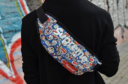 Сумка на пояс Бананка Барыжка Supreme Супрім Синій Кіт Різнокольорова, фото 2