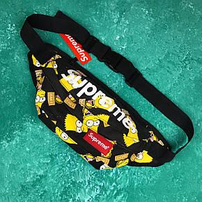 Сумка на пояс Бананка Барыжка Supreme Суприм Simpson Bart Симпсон Барт Черная, фото 2
