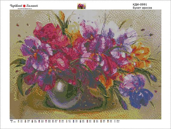 КДИ-0991 Набор алмазной вышивки Букет ирисов, фото 2