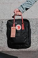 Городской Рюкзак Fjallraven Kanken Classic 16 л Канкен Черный с бордовыми ручками