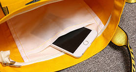 Тканевая Эко Сумка Шоппер Off-White Офф Вайт с карманом Желтая, фото 3