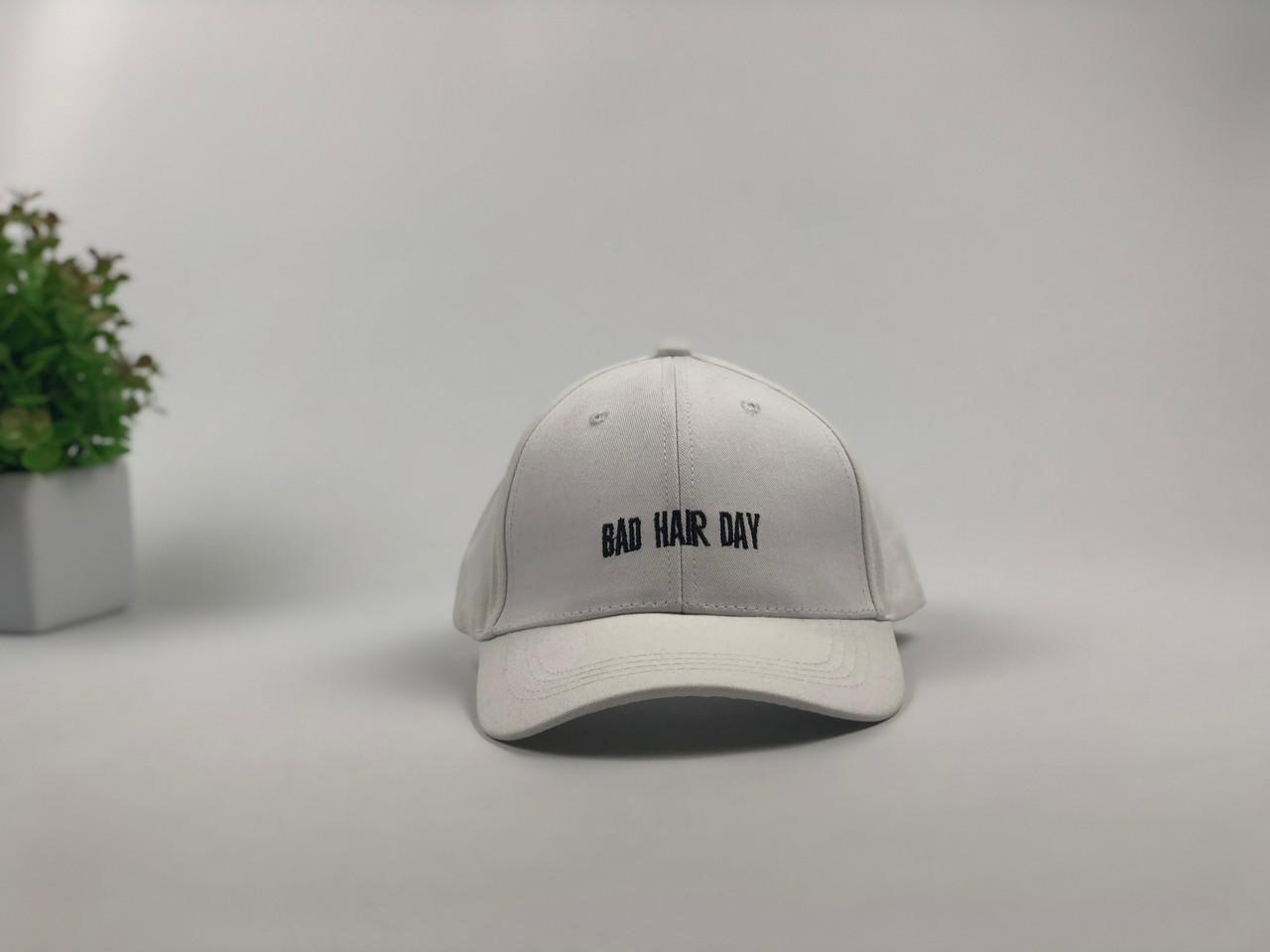 Кепка Бейсболка Мужская Женская City-A с надписью Bad Hair Day Белая