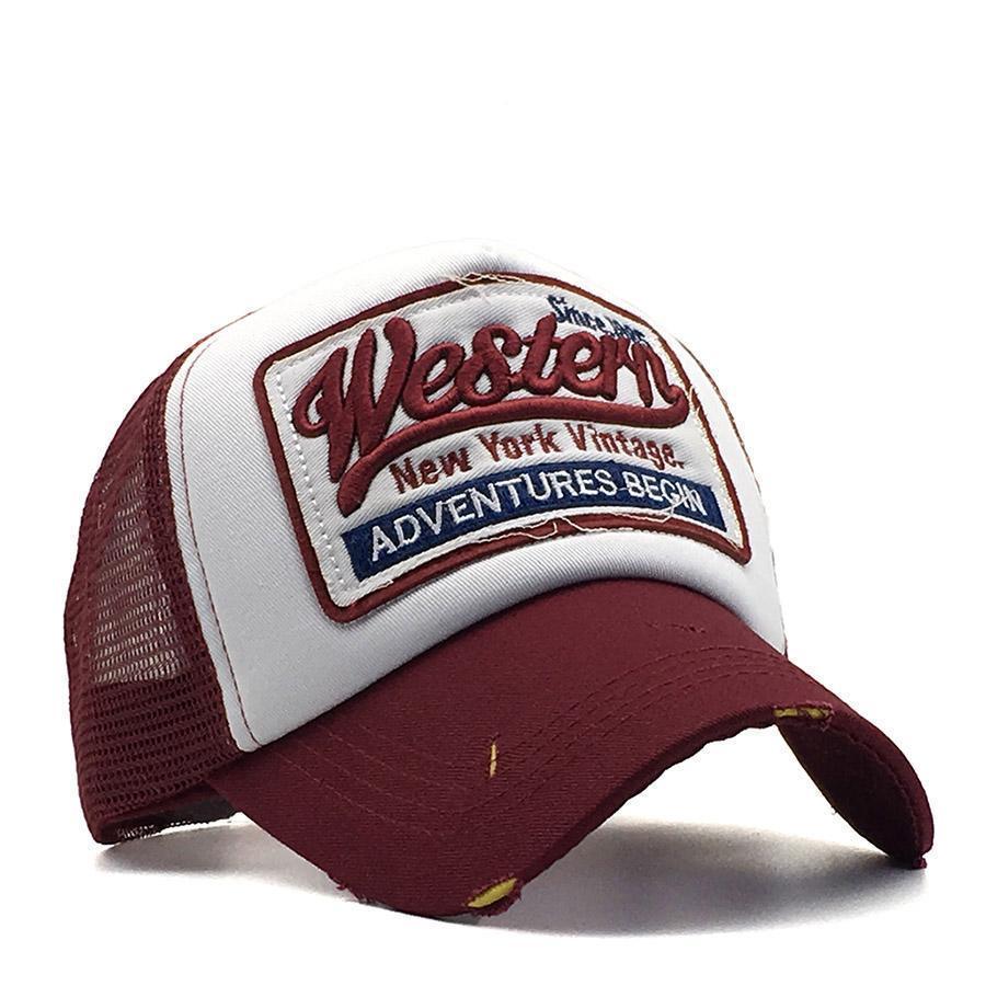 Кепка Бейсболка Тракер с сеткой City-A Western Винтажная Красная