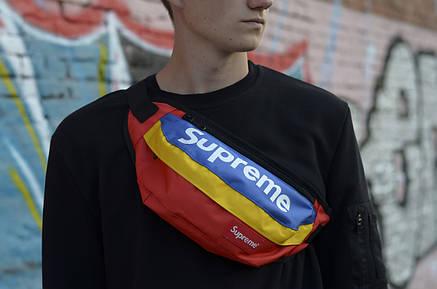Сумка на пояс Бананка Барыжка Supreme Супрім Синьо-Червоно-Жовта Різнокольорова, фото 2