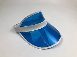 Женский пластиковый солнцезащитный Козырёк City-A на голову от солнца прозрачный Синий