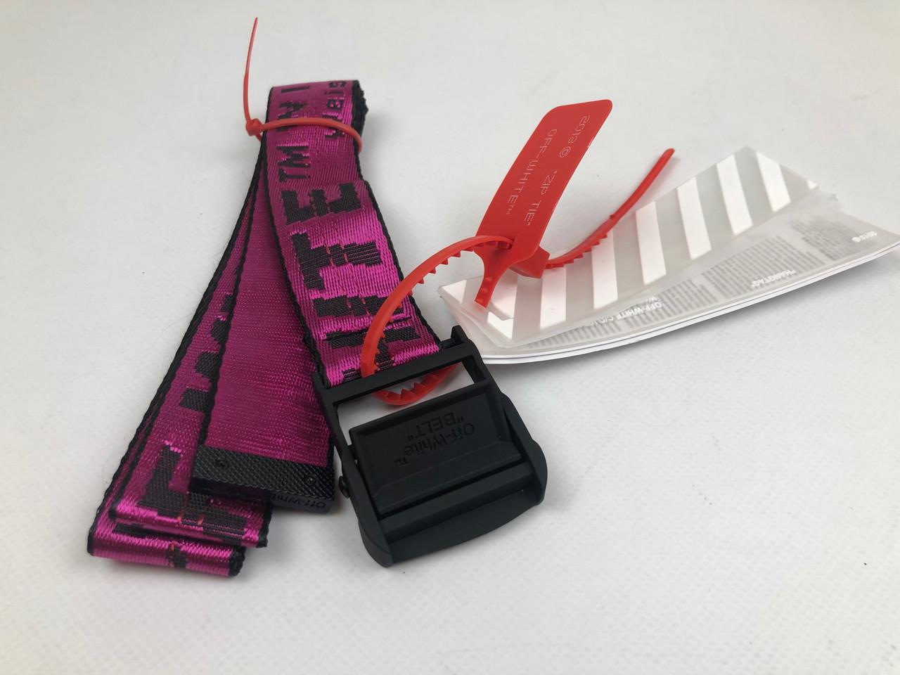 Ремень Пояс Off-White Original Belt Офф Вайт 150 см Малиновый с черной пряжкой
