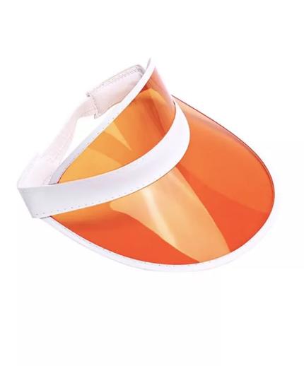 Женский пластиковый солнцезащитный Козырёк City-A на голову от солнца прозрачный Оранжевый