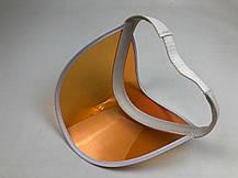 Женский пластиковый солнцезащитный Козырёк City-A на голову от солнца прозрачный Оранжевый, фото 3