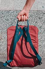Городской Рюкзак Fjallraven Kanken Classic 16 л Бордовый с темно-синей ручкой, фото 2