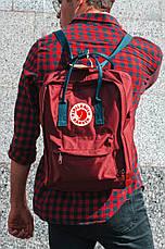 Городской Рюкзак Fjallraven Kanken Classic 16 л Бордовый с темно-синей ручкой, фото 3
