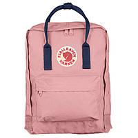 Городской Рюкзак Fjallraven Kanken Classic 16 л Канкен Розовый Персик с темно-синей ручкой