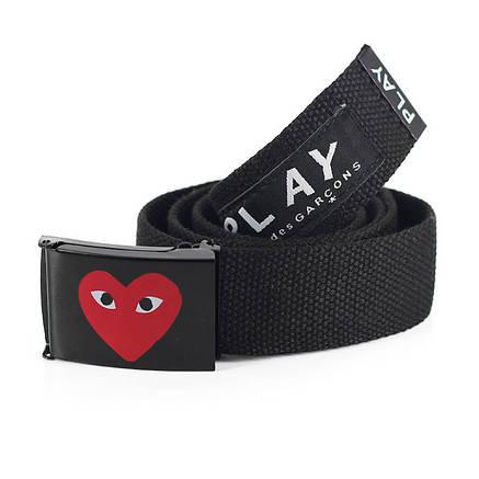 Ремень Пояс Play Comme Des Garcons Belt 100 см Сердце Черный, фото 2
