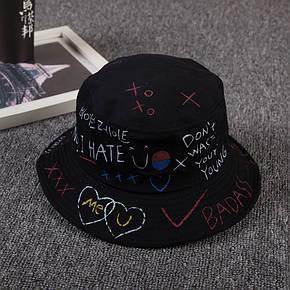 Панама Bucket Hat City-A с надписями Various WTF Черная, фото 2