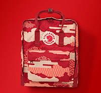 Городской Рюкзак Fjallraven Kanken Classic Art 16 л Канкен Red Waves Красный