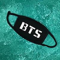 Маска захисна на обличчя багаторазова City-A Бафф K-Pop BTS напис Чорна