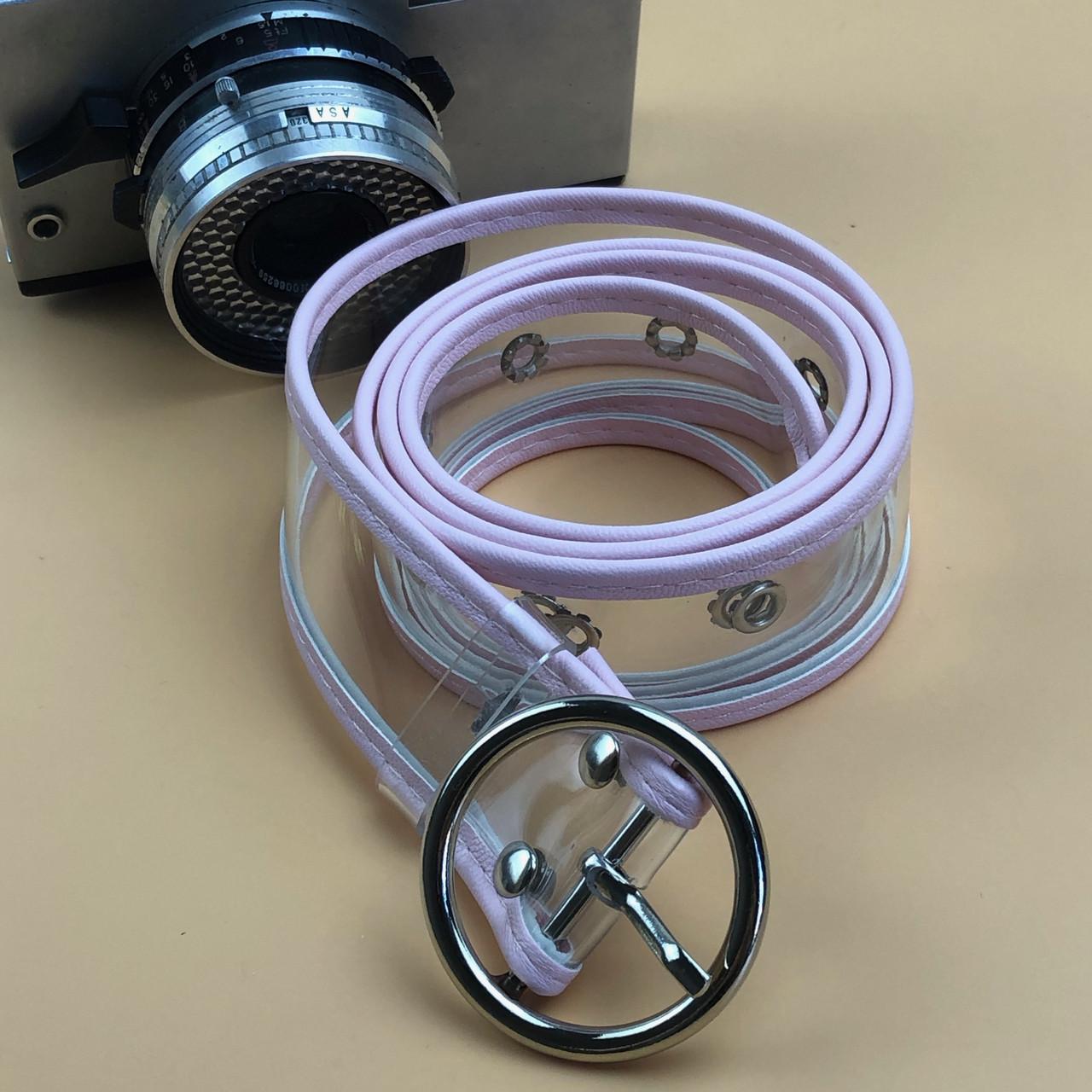 Ремінь на Пояс City-A Belt 100 см Прозорий з рожевою шкірою