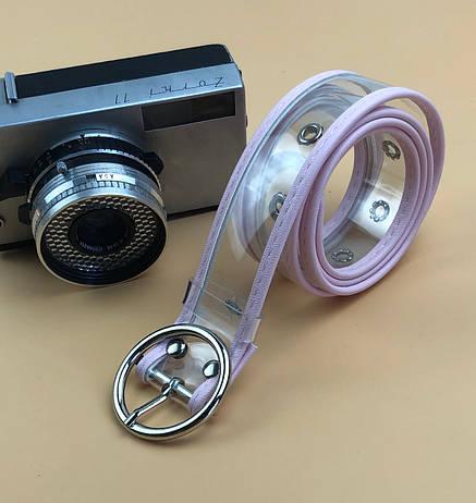 Ремінь на Пояс City-A Belt 100 см Прозорий з рожевою шкірою, фото 2