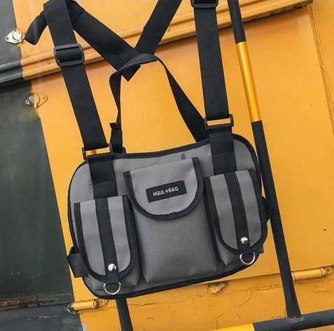 Нагрудная Поясная Сумка Бронежилет Разгрузка City-A Hgul+Bag Big Size Серая, фото 2
