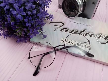 Имиджевые очки нулевки City-A Круглые с прозрачными стеклами Черные, фото 2