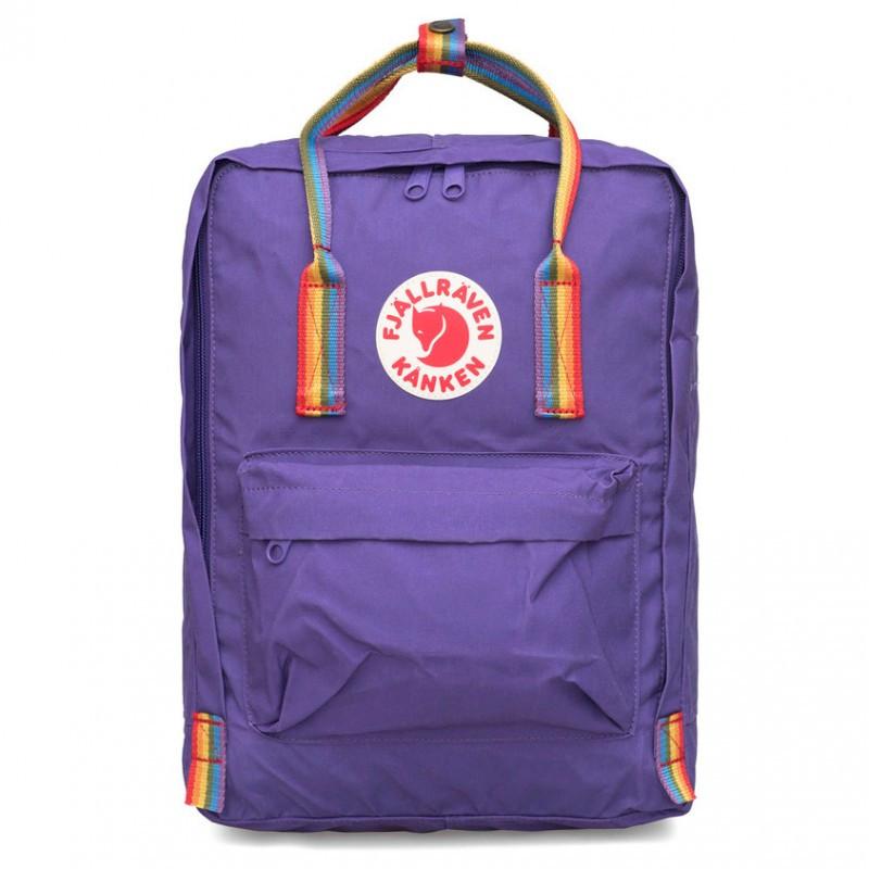 Рюкзак міський Fjallraven Kanken Classic Rainbow Райдужний 16 л Темно-Фіолетовий ручка в веселку