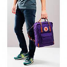 Рюкзак міський Fjallraven Kanken Classic Rainbow Райдужний 16 л Темно-Фіолетовий ручка в веселку, фото 3