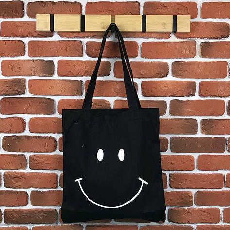 Тканевая Эко Сумка Шоппер City-A Smile со Смайлом Черная, фото 2