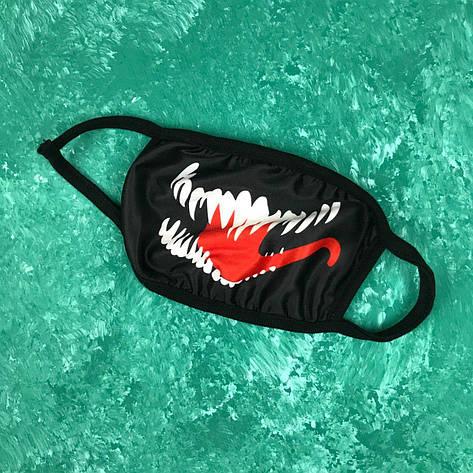 Маска защитная на лицо многоразовая City-A Бафф K-Pop Venom Черная, фото 2