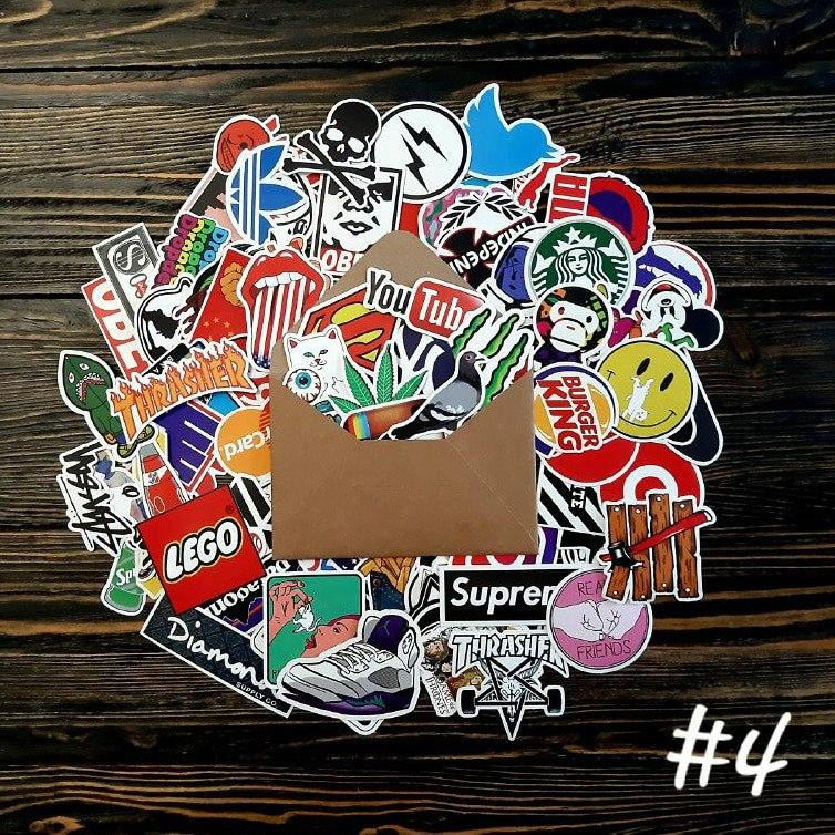Водоотталкивающие стикеры на ноутбук, авто, скейт Стикербомбинг, виниловые наклейки НАБОР №4 100 шт