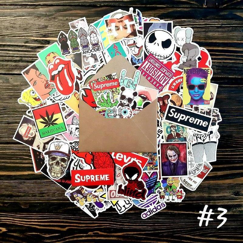 Водоотталкивающие стикеры на ноутбук, авто, скейт Стикербомбинг, виниловые наклейки НАБОР №3 - 50 шт