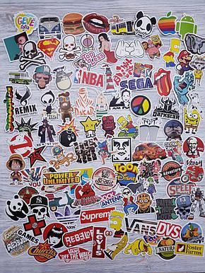 Водовідштовхувальні стікери на ноутбук, авто, скейт Стикербомбинг, вінілові наклейки НАБІР №2 100 шт, фото 2