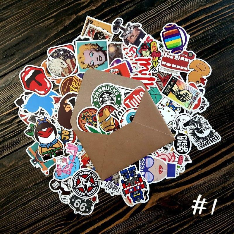 Водоотталкивающие стикеры на ноутбук, авто, скейт Стикербомбинг, виниловые наклейки НАБОР №1 - 25 шт