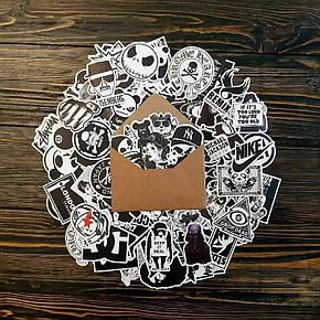 Водовідштовхувальні стікери на ноутбук, авто, скейт Стикербомбинг, вінілові наклейки НАБІР ЧБ - 25 шт, фото 2