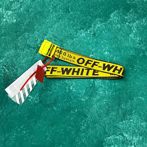 Ремень Пояс Off-White Original Belt Офф Вайт 150 см Желтый с желтой пряжкой, фото 2