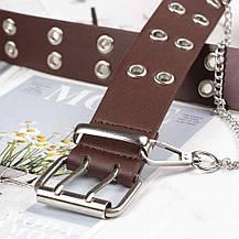 Ремень Пояс City-A Belt 100 см PU Кожа с Цепочкой Двухрядный Коричневый, фото 3