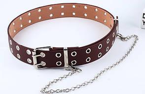 Ремень Пояс City-A Belt 100 см PU Кожа с Цепочкой Двухрядный Коричневый