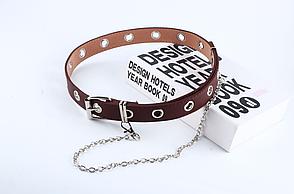 Ремень Пояс City-A Belt 100 см PU Кожа с Цепочкой Однорядный Коричневый