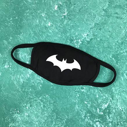 Маска захисна на обличчя багаторазова City-A Бафф K-Pop Бетмен Чорна, фото 2