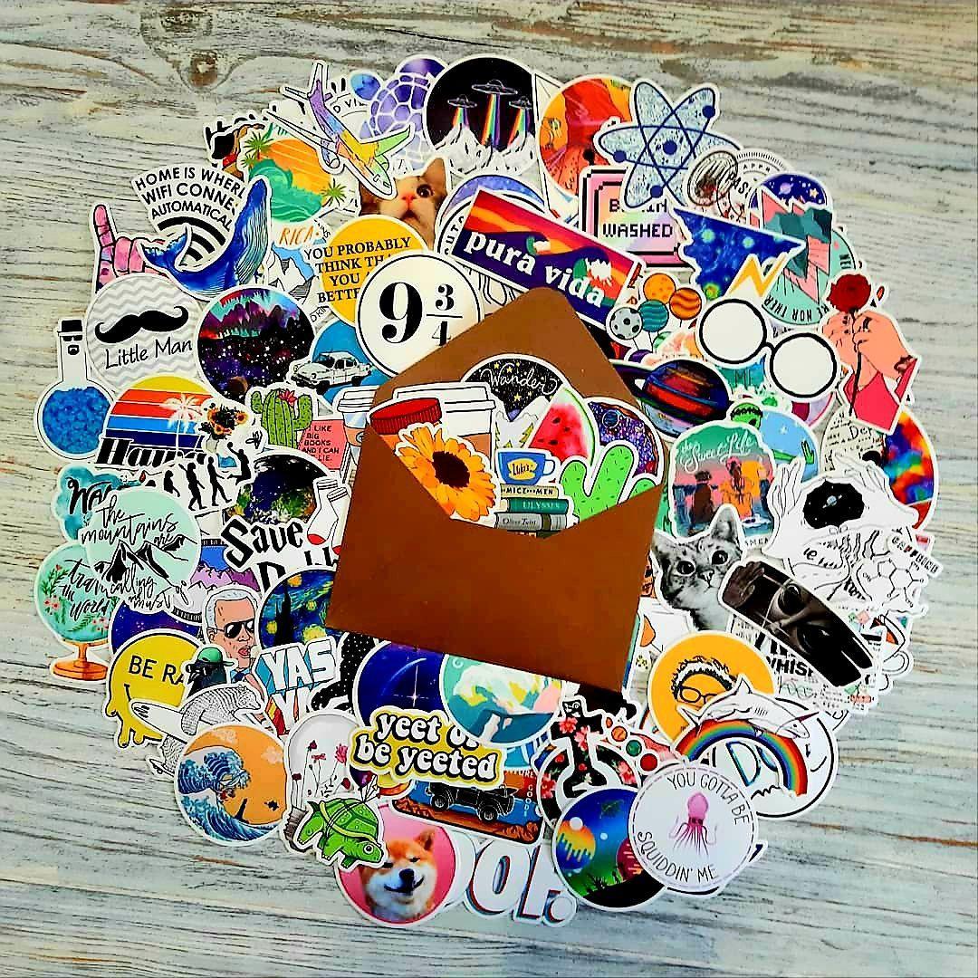 Водоотталкивающие стикеры на ноутбук, авто, Стикербомбинг, виниловые наклейки НАБОР Няшный - 100 шт