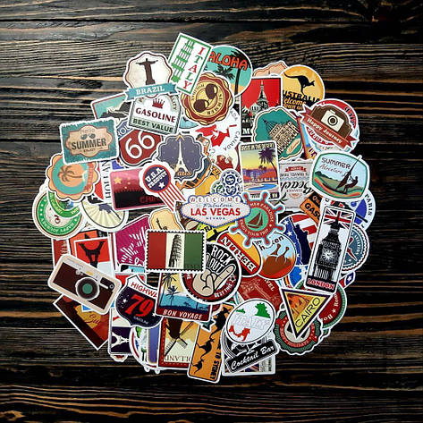 25 шт Водоотталкивающие стикеры на ноутбук, авто, скейт, Стикербомбинг, виниловые наклейки Travel, фото 2