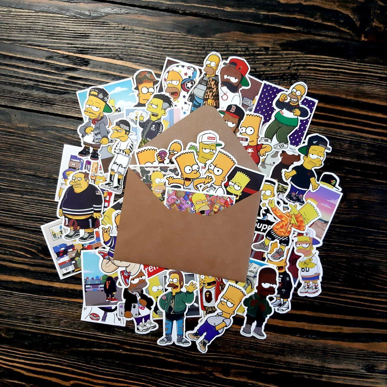 Водоотталкивающие стикеры на ноутбук, авто, Стикербомбинг, виниловые наклейки Simpson Симпсон 50 шт