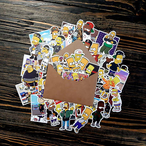 Водоотталкивающие стикеры на ноутбук, авто, Стикербомбинг, виниловые наклейки Simpson Симпсон 50 шт, фото 2