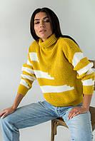 Свитер крупной вязки с широкими полосками LUREX - горчичный цвет, L (есть размеры), фото 1