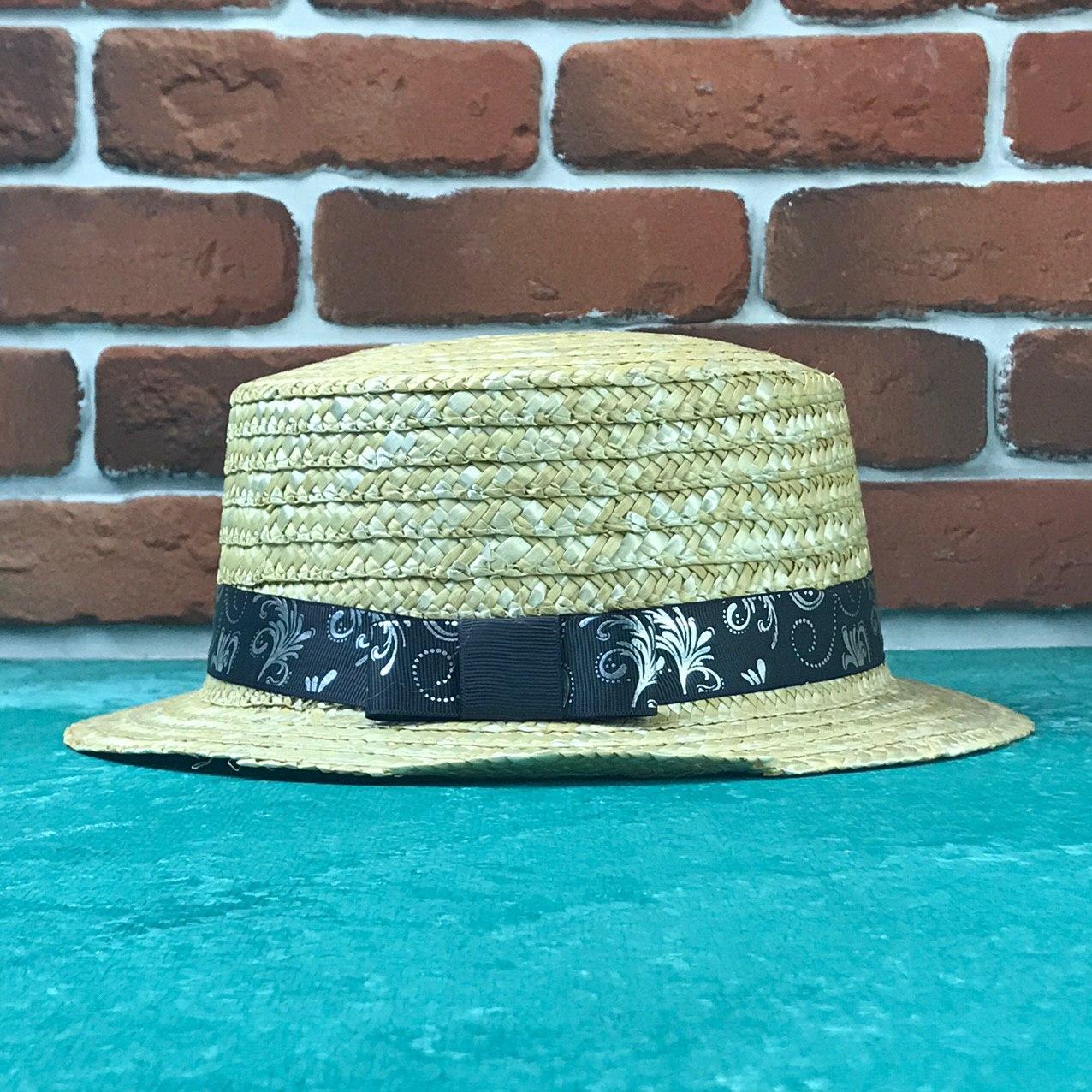 Канотье соломенная шляпа City-a Бежевая с лентой в узор