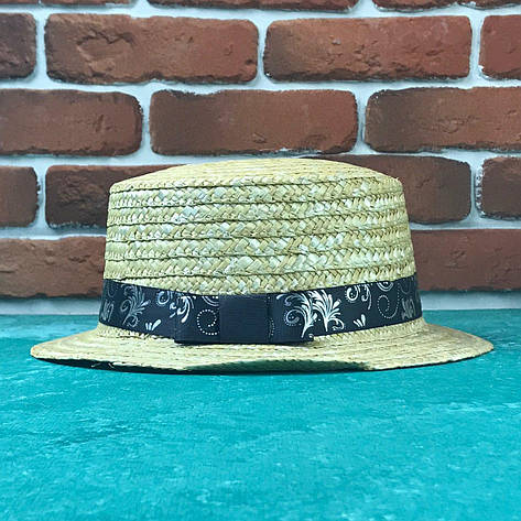 Канотье соломенная шляпа City-a Бежевая с лентой в узор, фото 2
