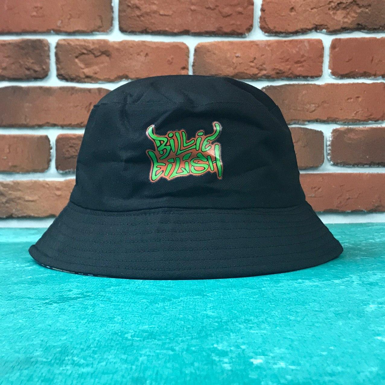 Панама Bucket Hat City-A Билли Айлиш Billie Eilish с надписью Двухсторонняя Черная