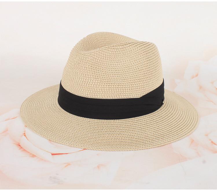 Шляпа Федора с широкими полями Канотье City-a Бежевая с черной лентой
